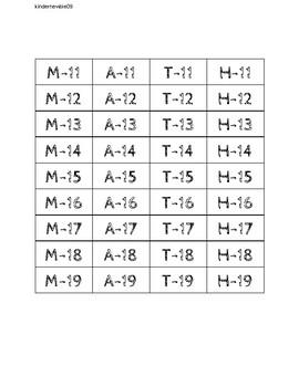 Teen Number Bingo (make your own card)