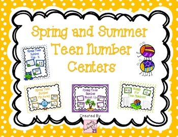 Teen Number Center Games - Spring and Summer Themed