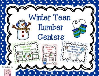 Teen Number Center Games - Winter Themed