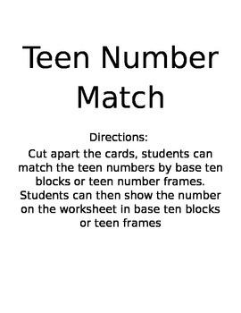 Teen Number Christmas Match