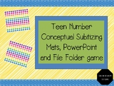 Teen Number Conceptual Subitizing Mats, PowerPoint and Game
