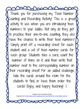 Teen Number Counting and Recording