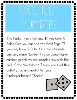Teen Number Dice