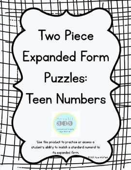 Teen Number Expanded Form Puzzles