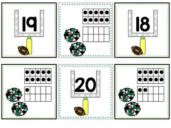 Teen Number Football Matching Game