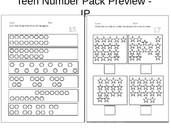 Teen Number Identification, Counting & Assessment Pack
