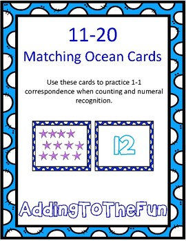 Teen Number Matching Ocean Cards ~ 1:1 Correspondence Numeral Recognition