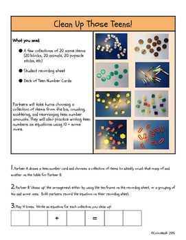 Teen Number Math Game: Clean Up Those Teens!