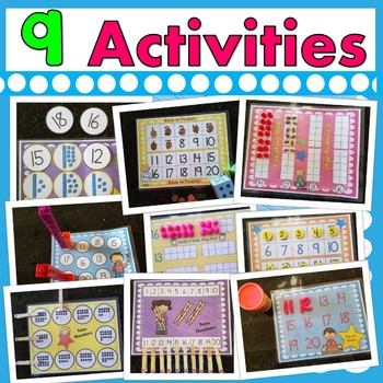 Teen Number Math Mats  (9 Hands-On Center Activities With Teen Numbers)