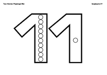 Teen Number Playdough Mat