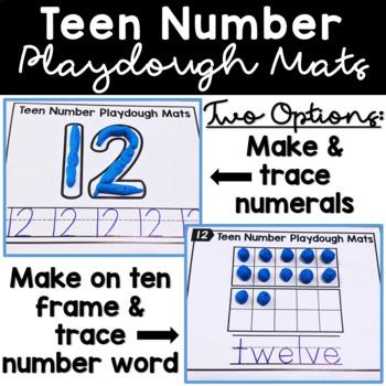Teen Number Worksheets 11-20 w/ Ten Frames Play Dough Mats