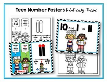 Teen Number Posters Cards and Puzzles (Includes 10 and 20 for Reference)
