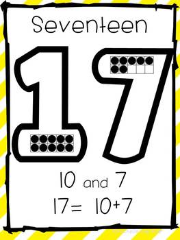 Teen Number Posters- Common Core Aligned Numbers 0-20