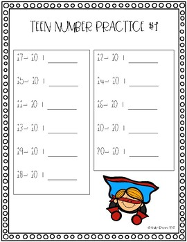 Teen Number Practice FREEBIE