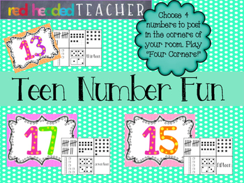 Teen Number Practice - Four Corners Game