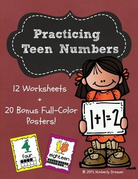 Teen Number Practice Packet + 20 Free Number Posters w/Ten Frames