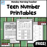 Free! Teen Numbers 11-20 Practice Printables Worksheets Ma