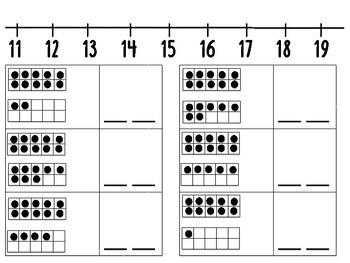 Teen Number Practice with Number Line
