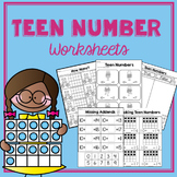 Teen Number Worksheets- K.NBT.1