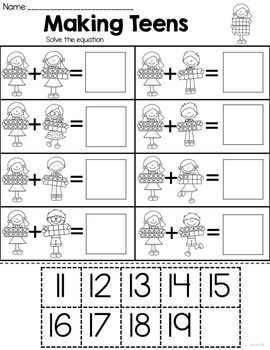 Teen Number Worksheets K Nbt 1 By Melissa Moran Tpt