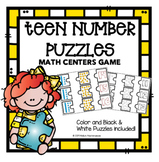 Teen Number Puzzles - Math Center Game