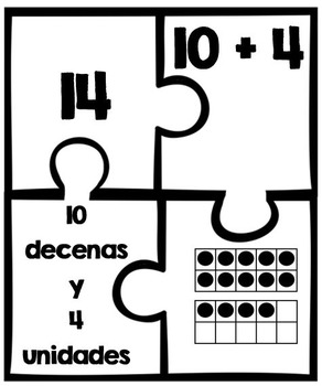 Number Puzzles: Compose and Decompose Teen Numbers (SPANISH!)