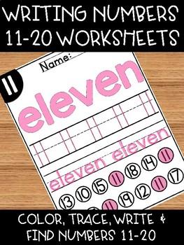Teen Number Worksheets for Kindergarten Numbers Recognition 11-20 Practice