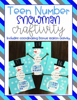 Teen Number Snowman Craftivity