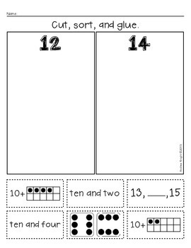 Teen Number Sorts  {Early Math Sorting Series, Set #4}