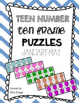 Teen Number Ten Frame Puzzles {winter/spring}