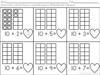 Teen Number Ten Frames: A Valentine's Day Freebie!