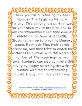 Teen Number Thanksgiving Memory Activity