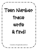Teen Number Trace, Write, and Find #11-25