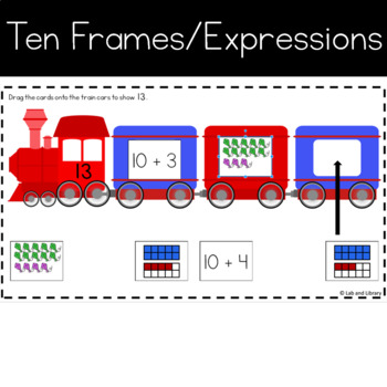 Teen Number Trains for Google Classroom: Ten Frames and Expressions
