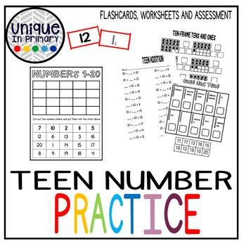 Teen Number Worksheets Assessment and Place Value BUNDLE