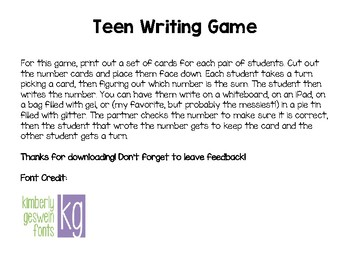 Teen Number Writing Game