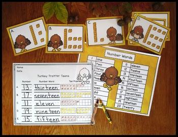 Number Sense Activity Turkey Trottin' Teen Numbers 10-19