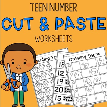 Teen Numbers 11-20 Cut and Paste Worksheets
