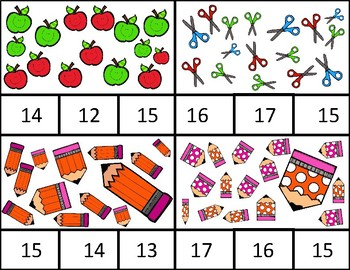 Teen Numbers Back to School 1:1 Correspondence Clip Cards