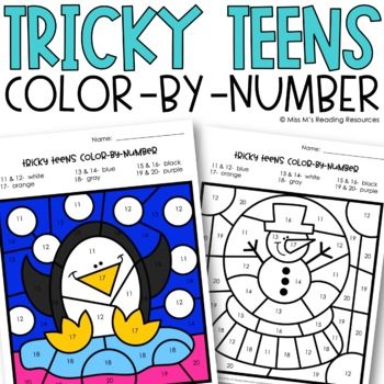 Teen Numbers Color-by-Number {Tricky Teens}