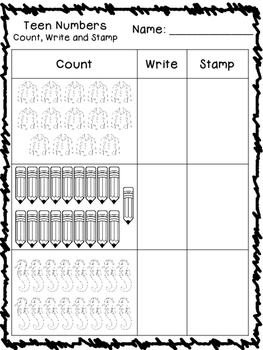 Teen Numbers - Count, Write, Stamp