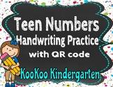 Teen Numbers Handwriting Practice with QR code