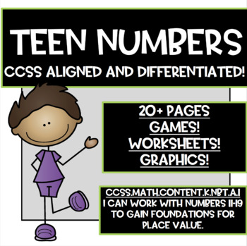 Teen Numbers!! Kindergarten CCSS Aligned and Differentiated!!
