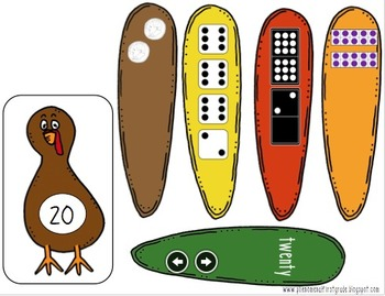 Teen Numbers - Matching Turkey Theme