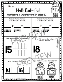 Teen Numbers Math Assessment - Place Value Tests - Kindergarten and First Grade