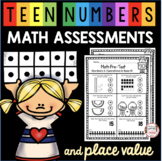 Teen Numbers Math Assessment - Place Value Tests - Kinderg