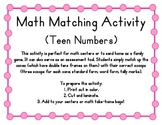 Teen Numbers Math Matching Activity (Ice Cream Theme), Common Core!