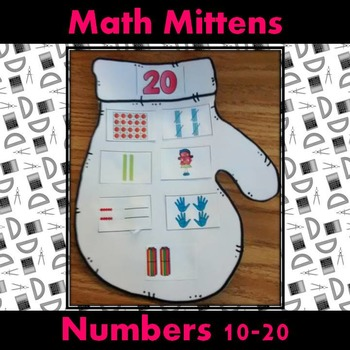 Teen Numbers Math Winter Mittens Craft: Ten frames, numerals, tally marks