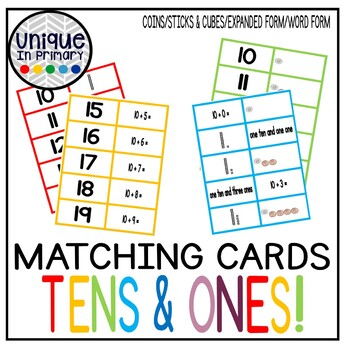 Teen Numbers Place Value Matching! (Pennies, Ten Sticks, Expanded Form & More!)