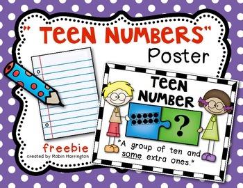 """{FREEBIE} Teen Numbers Poster """"Puzzle Kids"""" Kindergarten Math"""